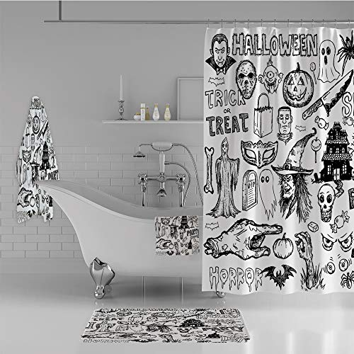 iPrint Bathroom 4 Piece Set Shower Curtain Floor mat Bath Towel 3D Print,Halloween Doodle Trick or Treat Knife Party,Fashion Personality Customization adds Color to Your Bathroom. -