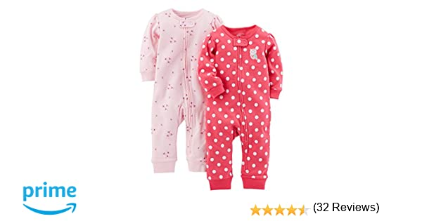 Simple Joys by Carters Baby Girls 2-Pack Cotton Footless Sleep and Play 6-9 Months Pink Dragonfly//Dot Without Cuffs