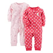 Simple Joys by Carter's Baby Girls' 2-Pack Cotton Footless Sleep and Play, Pink Dragonfly/Dot Without Cuffs, 0-3 Months