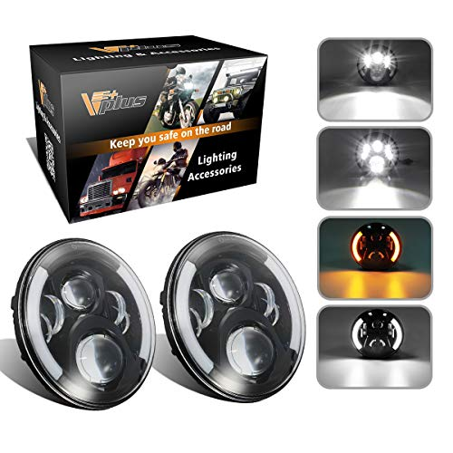 2017 Jeep Wrangler Sahara - Vplus 7 Inch Round LED Headlights Projector White Halo Ring Angel Eye DRL Compatible with Jeep Wrangler JK TJ LJ Sahara Unlimited Islander, Hummer H1 H2 (Pack Of 2)