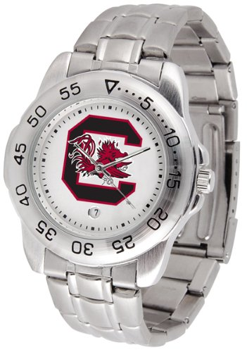 South Carolina Fighting Gamecocks Suntime Mens Sports Watch w/ Steel Band - NCAA College (South Carolina Gamecocks Watch)