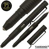 Takedown® POW-MIA crafted Aircraft Aluminum alloy Flat Tip Heavy Duty Pocket Clip Replaceable Ink Cartridges Window Breaker BLACK Tactical Pen POA-MIA Logo