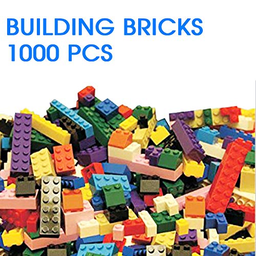 1000 Piece Building Bricks For Kids | Compatible With All Major Brands - Basic  Building Blocks - 10 Colors, 12 Shapes, 54 Roof Pieces | 2 Free 5