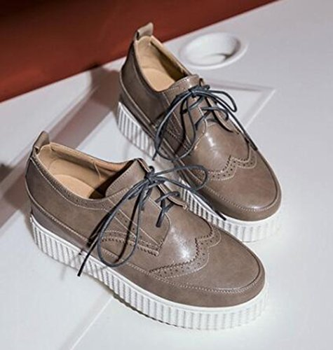 Easemax Womens Trendy Round Toe Low Top Platform Hidden Heel Lace Up Sneakers Apricot 6Mnmlaq8
