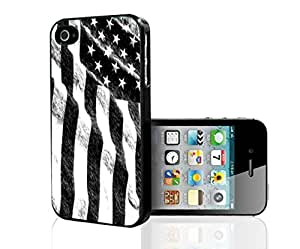 Black and White Sketched American Flag Hard Snap on Phone Case (iphone 6 plus)