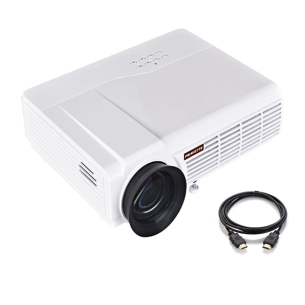 Portable Projector, PRAVETTE Movie Projector Support HD Video/1080P Movie Outdoor/Office/Home by PRAVETTE