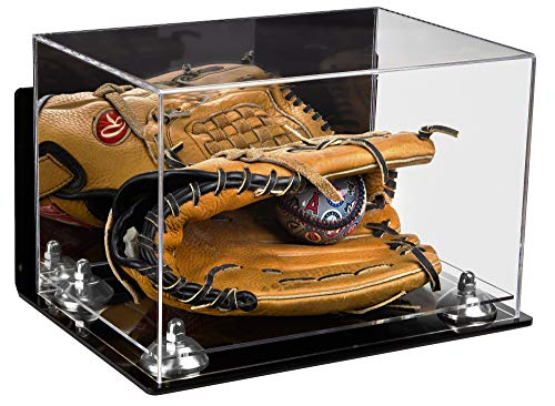 Deluxe Acrylic Baseball Glove Display Case with Mirror, Wall Mount, Silver Risers and Clear Base (A004-SR)