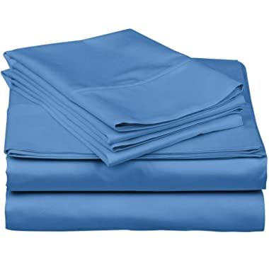 True Luxury 1000-Thread-Count 100% Egyptian Cotton Bed Sheets, 4-Pc Queen DEEP Blue Sheet Set, Single Ply Long-Staple Yarns, Sateen Weave, Fits Mattress Upto 18'' Deep Pocket