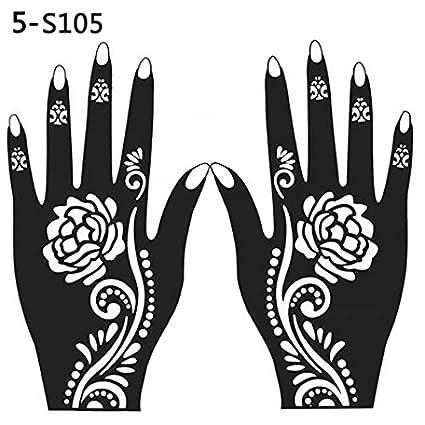 Henna - Plantilla de tatuaje de mano temporal, 2 unidades, 105 ...