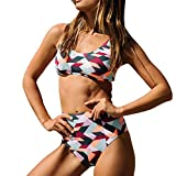 Bikini Set for Women Two Piece Sexy Plaid Print High Waist Swimwear Bathing Suit Swimsuit (S, Multicolor)