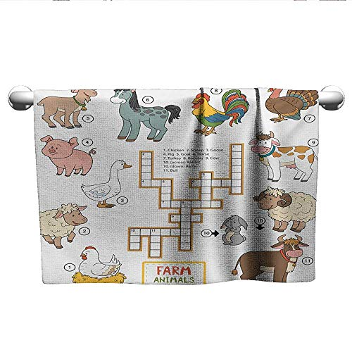 - alisoso Kids Game,Personalized Towels Crossword Educational Puzzle for Children with Different Farm Animals and Numbers Hand Towel for Bathroom Multicolor W 14