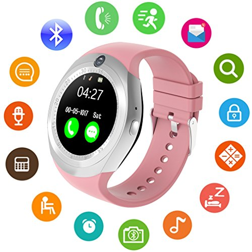 Smart Watch, Bluetooth Smartwatch with Camera Touch Screen Pedometer Sleep Monitoring for Android and IPhone (Partial Functions) Pink by Amazqi