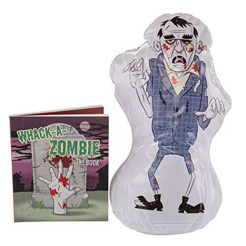 Running Press Whack-A-Zombie Fun Inflatable Mini Desktop Stress Toy & Book Bop Finger Punching Bag