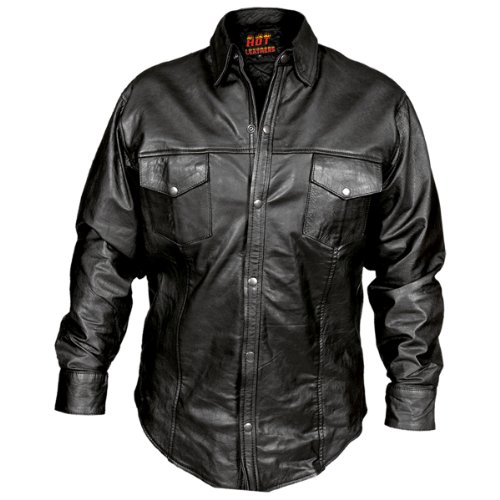 Hot Leathers Men's Leather Shirt (Black, - Leather Shirt