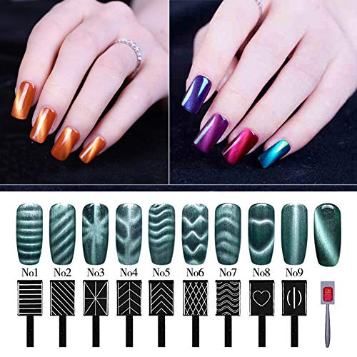 3D Cat Eyes Magnet Stick Magnetic LED Polish Soak Off UV Gel Manicure Nail Art Tools 9 Pcs/ Set