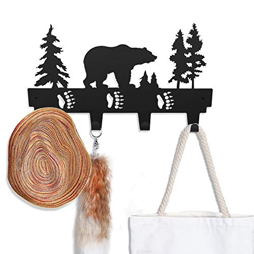 - CoolPlus Coat Hooks Wall Mounted Entryway Dog Leash and Key Holder Decorative Clothes Hat and Belt Hanger, Metal Towel Rack for Bathroom, Home Decor Mural Art Black Finish