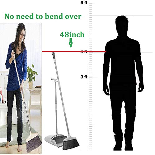 COMFORTABLEPLUS Broom and Dustpan Set Self-Cleaning Broom Bristles with Dust Pan,4FT (50inch) Long Handle Combo Set for Office and Home Standing Upright Sweep no Need to Bend Over by Comfortableplus (Image #2)