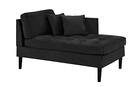 Chaise Lounge Indoor Chair Tufted Velvet Fabric (With 2 Accent Pillows), Modern Mid Century Plush Chaise Lounger For Office | Living Room Or In Small Space Home Furniture, Jet Black by Casa Andrea Milano