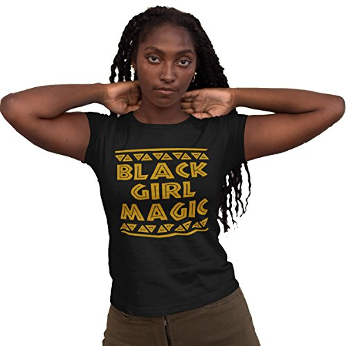 iApparel Black Girl Magic Women Black T-Shirts (Small)