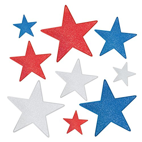 Party Central Club Pack of 108 Patriotic 4th of July Glittered Foil Star Cutouts by Party Central