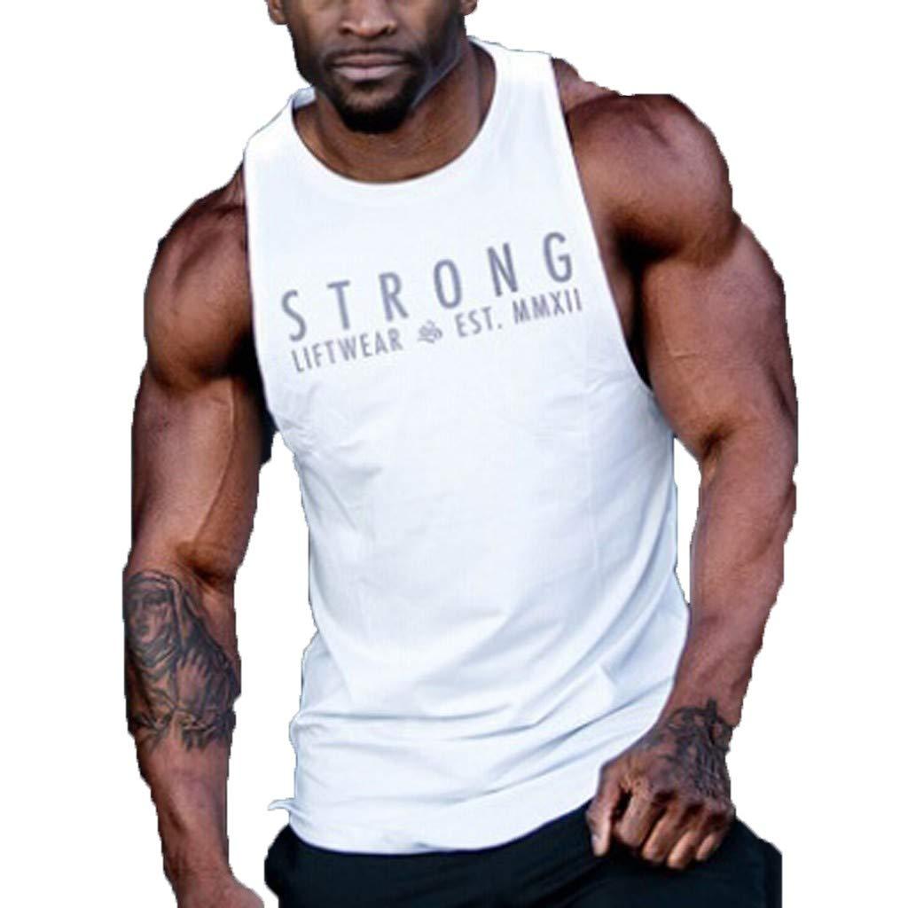 Allywit-Mens New Summer Printed Vest Fashionable Comfortable Large Vest Bodybuilding Running Jogging White
