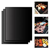 On'h BBQ Grill Mat 16 x 13 Inch Barbecue Grill Mats Set of 3 Heavy Duty Non-stick for Ribs Shrimps Steaks Burgers Vegetables Reusable for Gas Charcoal Electric Grill Ovens Best Grilling Accessories