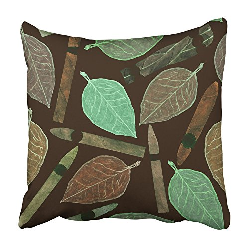 Emvency Throw Pillow Cover Cigars of Different Shapes and Colors with Tobacco Leaf Hand Watercolor Print Home Decor Design Square Set Cushion Case 20 x 20 Inch of Bedroom Sofa Pillowcase