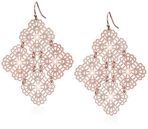 Womens Filligree Chandlier Drop Earrings, Rose Gold, One Size