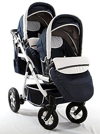 Carro gemelar 3en1 ISOFIX. Capazos+sillas+sillas de coche+Isofix+accesorios. BBtwin. Gris+cuero negro: Amazon.es: Bebé