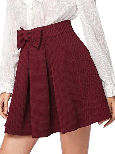 (SheIn Women's Basic Solid Flared Mini Skater Skirt Small Bow)