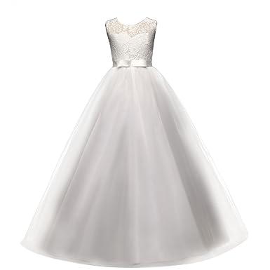 510809c700e Enfant Fille Robe de Soirée Longue en Dentelle Tutu Princesse Corsage  Florale Fleur Costume Habillée de