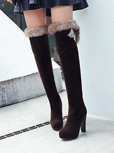 Mee Shoes Damen high heels inner Plateau Nubukleder Stiefel Braun
