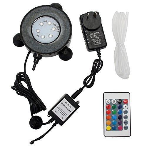 AU Plug Pukido RGB Aquarium Round Light Spotlights Garden Pond Pool Increase Oxygen Fish Tank Air Stone Bubble Light EU UK US AU Plug + Remote (color  AU Plug)