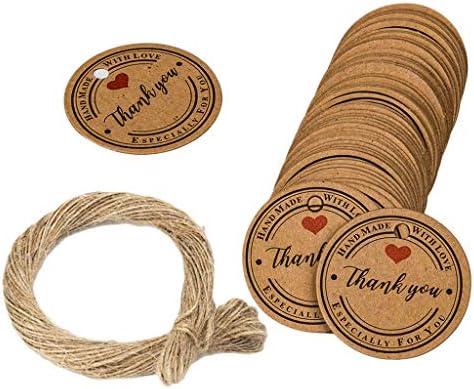 Gift Tags Baby Douche Tags Dank U Tags 100 Stks 118 Inch Ronde Kraft Dank U Tags voor Bruiloft Party Favors Thanksgiving met Jute Twine