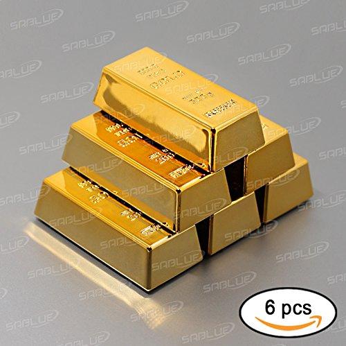SABLUE 6x Replica Mini Gold Bar Refrigerator Magnets Fake Golden Paper Weight Brick Bullion Movie Prop Novelty Gift Joke (05-Magnets L)
