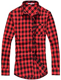 Men's Spring Summer Long Sleeve Plaid Casual Shirt