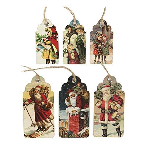 Christmas Gift Tags - Vintage Style Christmas & Father Christmas Scene x 30
