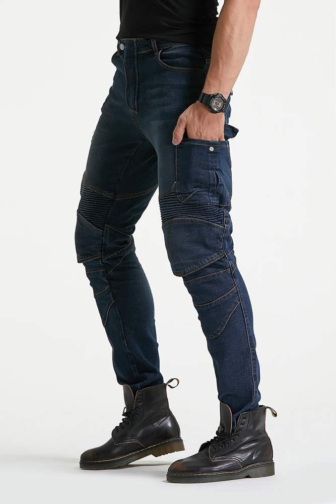 GELing Pantalones vaqueros para motorista CE protecci/ón,Verde,M