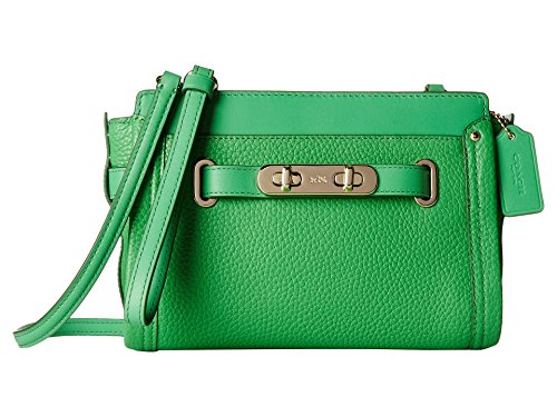 Coach 53032 Crossbody Leather Swagger Pebbled Green Wristlet xwxFqpA