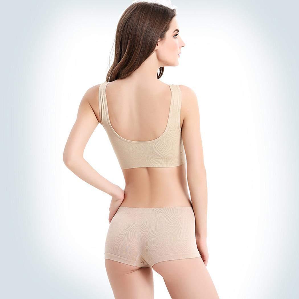 Ladiy Women Casual O-Neck Sleeveless Solid Pullover Slim Yoga Bra Sports Bras Nude