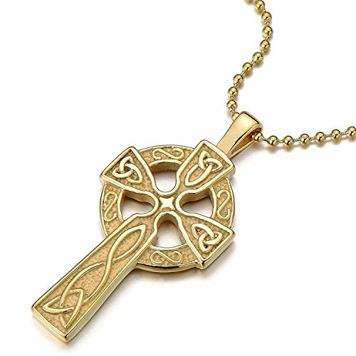 Stainless Steel Gold Color Mens Womens Celtic Cross Pendant Necklace with 23.6 in Ball Chain
