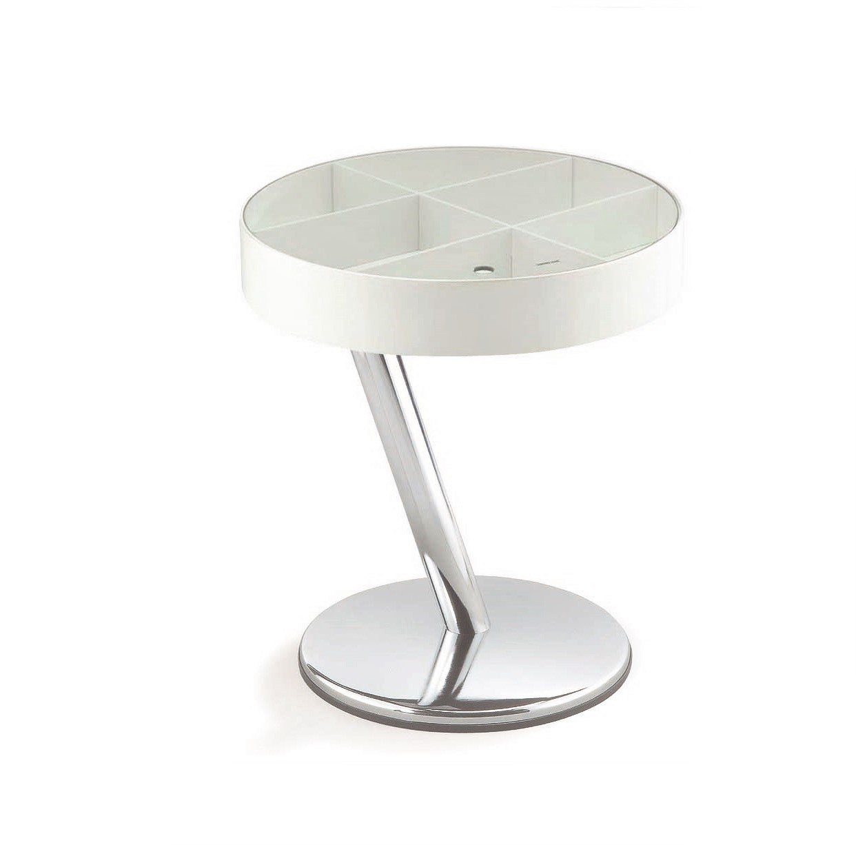 New Spec Modern End Table with Glass Top, White