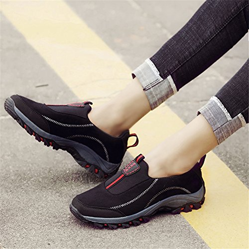 Slip Sneakers Casual On Slip Walking Non Scurtain Elderly Outdoor Black Shoes Womens Suede qpn0wwxY8