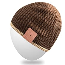 Rotibox Unisex Bluetooth Slouchy Striped Pom Pom Beanie Hat Cap with Wireless Headphone Headset Earphone Speaker Mic Hands Free for iPhone iPad Samsung Android Cellphones,Christmas Gifts