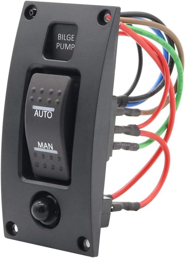 MeterMall 12-24 V Interruptor de Bomba de achique con Alarma Impermeable para Barco, Panel de Control de Limpieza para Bombas de achique de Barco, Encendido/Apagado/Encendido