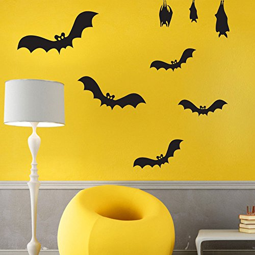 ML_Victor 8PCS Halloween DIY Bats Wall Decals Window Stickers Mural Decor Decal Halloween Decorations Art Vinyl Removable for Kids Rooms Nursery Halloween Party Home (Diy Halloween Door Decorations)