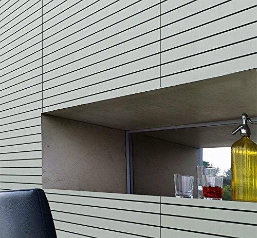 Panel de pared adhesivo WallFace 18585 RIGATO aspecto metal cepillado resistente a la abrasión bandas transversales color plata junturas negras | 2,60 m2: ...