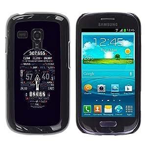 Be Good Phone Accessory // Dura Cáscara cubierta Protectora Caso Carcasa Funda de Protección para Samsung Galaxy S3 MINI NOT REGULAR! I8190 I8190N // Death Statistics Skull Typograph