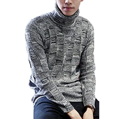 WSPLYSPJY Mens Casual Slim Fit Pullover Knit Turtleneck Long Sleeve Twisted Sweaters