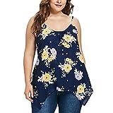 AgrinTol Women Plus Size Floral Print Cami Top Tank Tops Sleeveless O-Neck Vest (XL, Navy)